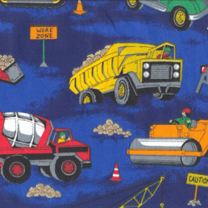 Boys Machinery Crane Cement Truck on Blue Quilt Fabric