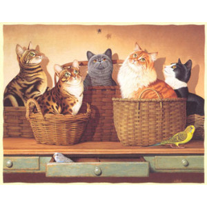 Cats in Baskets Greeting Card by Braldt Bralds