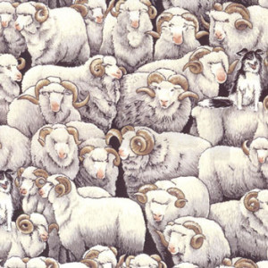 Merino Sheep No2 Border Collie Dog Farm Quilting Fabric