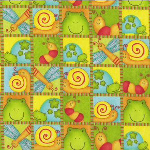 Little Critters in Squares Turtle Frog Animals Quilt Fabric