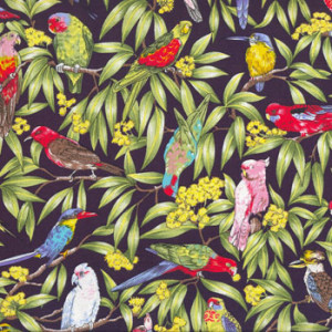 Australian Birds Parrot Kookaburra Navy Quilting Fabric