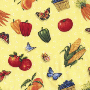 Fruit Vegetables Butterflies on Yellow Quilt Fabric