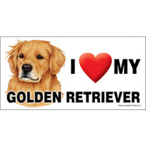 I Love My Golden Retriever Dog Fridge Office Fun Magnet
