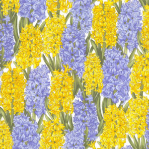 Hyacinth Flowers Yellow & Blue Quilt Fabric