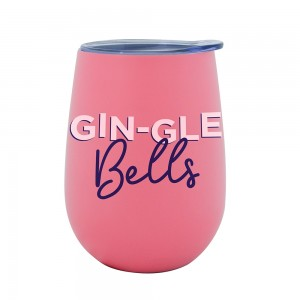 Double Walled Stainless Steel Gin-Gle Bells Wine Tumbler with Lid
