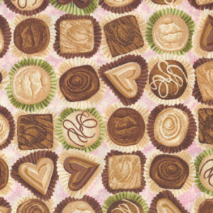 Make Mine Chocolates Lovehearts on Pink Quilting Fabric