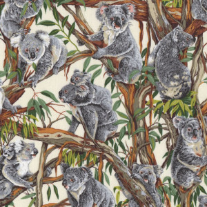 Australian Koalas in Gumtrees Quilting Fabric