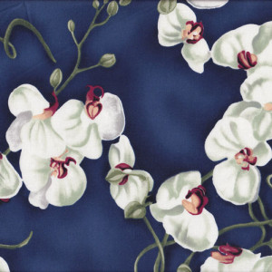 Orchids Flowers on Navy Quilt Fabric