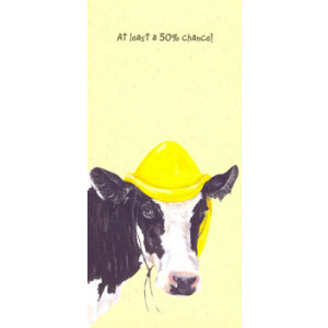 Cow With Rain Hat Card