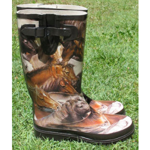 Brown Horses Gumboots Wellies Rainboots Size 6