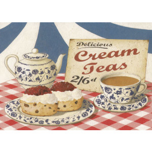 Delicious Cream Teas Greeting Card by Martin Wiscombe
