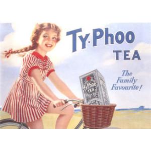 Typhoo Tea Girl on Bike Nostalgic Postcard
