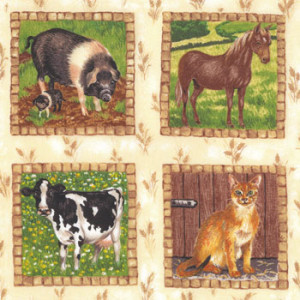 Meadow Farm Animal Squares Makower Quilt Fabric