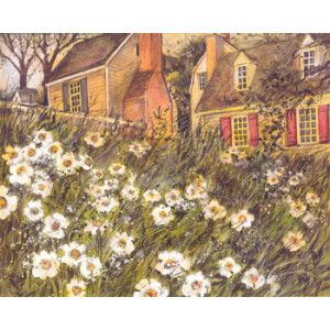 Cottages and Daisy Garden Greeting Card by Susan Winget