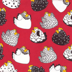 New Zealand NZ Happy Hens on Red Quilt Fabric