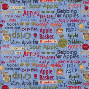 Debbie Mumm Apple Names on Blue Quilting Fabric