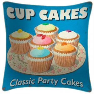 Cupcakes Party Cakes Art Print Retro Cushion Martin Wiscombe