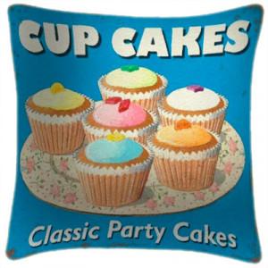 Cupcakes Party Cakes Art Print Retro Cushion Martin Wiscombe