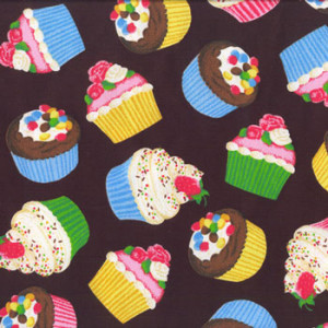 Cupcakes Cup Cakes on Black Quilt Fabric