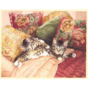 Two Kittens Greeting Card by Sueellen Ross