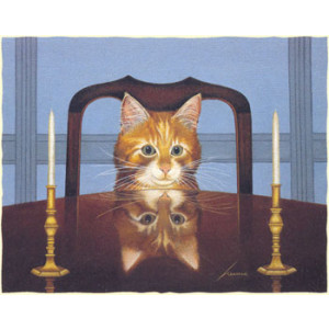 Cat At Table Greeting Card by Lowell Herrero