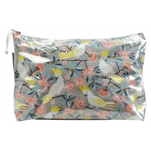 Cosmetic Beauty Makeup Storage Toiletry Travel Bag Cockatoo and Flowering Gum Large