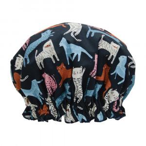 Ladies Girls Elasticised Shower Cap Funky Cats Design Australian Made