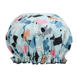 Ladies Girls Elasticised Shower Cap Dog Mix Design Australian Made