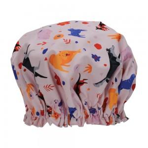 Ladies Girls Elasticised Shower Cap Retro Dog Pink Design Australian Made