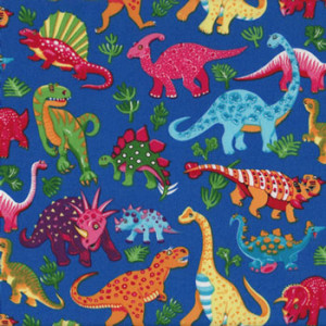 Dinosaurs on Royal Blue Boys Quilting Fabric