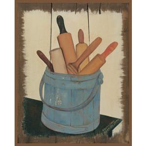 Wooden Spoons in Blue Bucket 8 x 10 Print