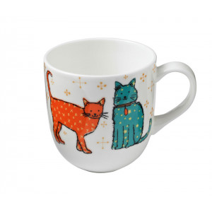 Catwalk Cats Design Round Sided New Bone China Tea Coffee Mug Cup