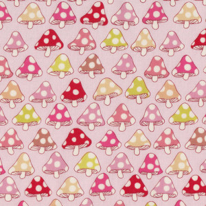 Mushrooms Toadstools on Pink Quilt Fabric