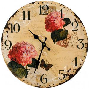 Hydrangeas Flowers Round Wall Clock