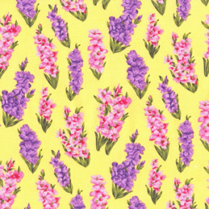 Gladiolus Gladioli Flowers on Yellow Quilt Fabric