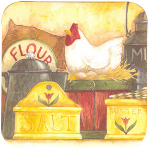 Chicken Kitchen Country Style Cork Backed Drink Coaster