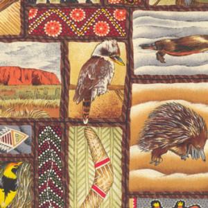 Awesome Australia Emu Uluru Echidna Platypus Quilting Fabric