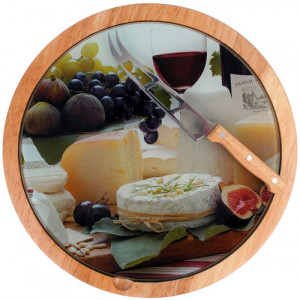 Wooden Cheese Board Lazy Susan With Knife