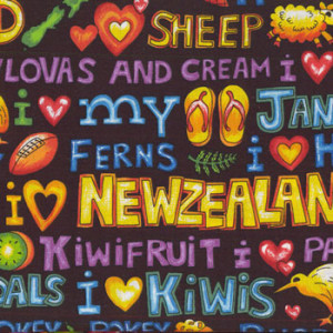 I love New Zealand Words NZ Sheep Kiwi Jandals Quilt Fabric