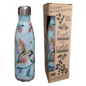 Bird and Flower Water Bottle Insulated Double Wall Stainless Steel