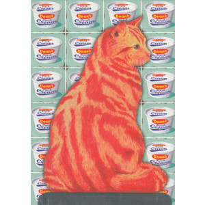 Pop Art Ginger Cat Greeting Card by Martin Wiscombe