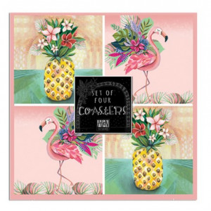 Coasters Cork Backed Drink Tropical Set of 4