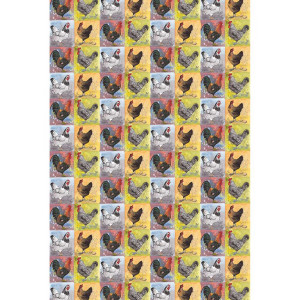 Kitchen Tea Towel 100% Cotton Checkerboard Chickens By Alex Clark
