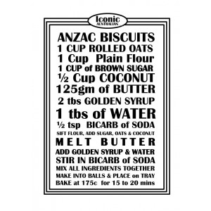 ANZAC Biscuits Bikkies Recipe 100% Cotton Kitchen Tea Towel