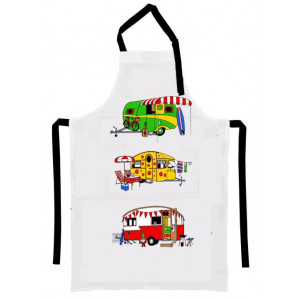 Retro Camping Caravans 100% Cotton Drill Kitchen Apron