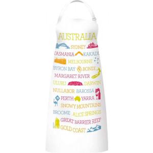 Kitchen Apron 100% Cotton Australian Cities Places Icons