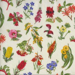 Australian Wildflowers Sturt Pea Wattle Grevillea Quilt Fabric