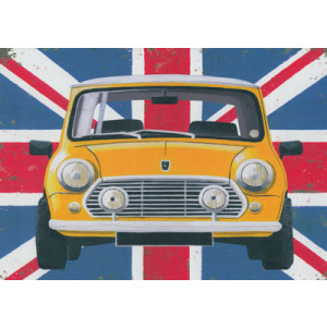 Mini Car Union Jack Greeting Card by Martin Wiscombe