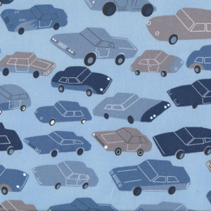 Cars Trucks Utes on Blue Quilt Fabric
