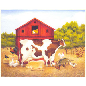 Cow and Barn Greeting Card by Lowell Herrero